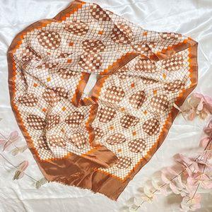 Satin Scarf 70's Vibe Orange & Brown Pattern